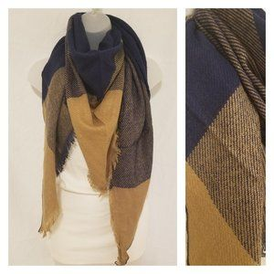 Plaid Fall Triangle Blanket Scarf Navy and Camel